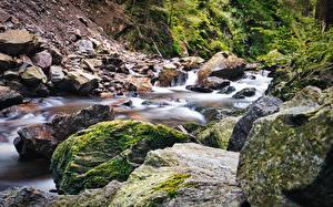 Фото Камень Мхом Ручей Природа