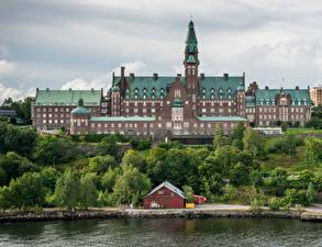 Фотография Швеция Стокгольм Дома Побережье Danvikshem Города