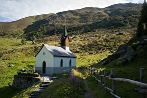 Фотография Швейцария Горы Церковь Альп Arosa