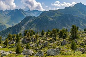 Фотография Швейцария Гора Альпы Облака Col de Chassoure Природа