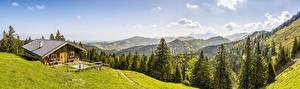 Обои Швейцария Горы Лес Дома Панорама Пейзаж Альп