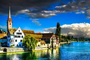 Обои Швейцария Реки Побережье Дома Stein am Rhein Города картинки