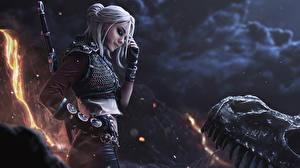 Фото The Witcher 3: Wild Hunt Воины Блондинки Меч Рука Перчатки Боке Cirilla Фэнтези Девушки