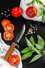 Обои для рабочего стола Томаты Ножик Серый фон Зерна Ветки Еда