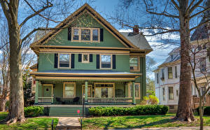 Обои Штаты Дизайн Особняк Franklin Square Historic District, Bloomington, Illinois город