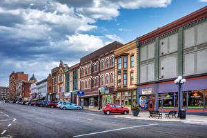 Фотографии США Здания Дороги Улица Уличные фонари Bloomington, Illinois Города