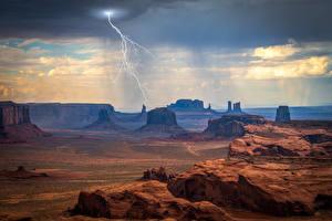 Обои США Скала Тучи Молния Monument Valley Природа картинки