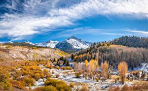 Обои США Горы Осень Пейзаж Облака Mount Sneffels Природа картинки