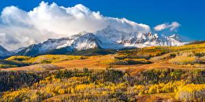 Картинка Америка Гора Осень Пейзаж Облака Wilson Peak, Colorado Природа