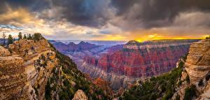 Фотография США Парк Гранд-Каньон парк Панорамная Скала Каньоны Облако Arizona
