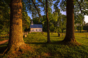 Обои США Парки Дома Деревья Трава Great Smoky Mountains National Park Природа картинки