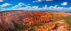 Картинки Америка Парк Панорамная Скалы Каньона Облака Bryce Canyon National Park