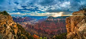 Картинка Америка Парки Панорамная Гранд-Каньон парк Скале Каньона Облачно Arizona Природа