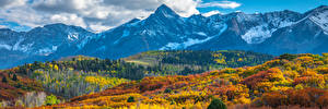 Обои для рабочего стола Штаты Пейзаж Осень Горы Панорамная Colorado Природа