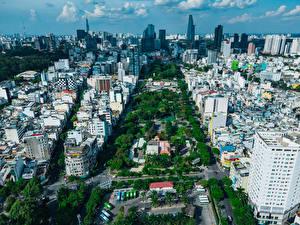 Обои Вьетнам Дома Сверху Ho Chi Minh City Города